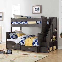 lit superposé original design en bois peint idée pratique gain place chambre enfant garçon  #original #bunk #bed
