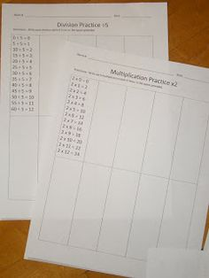 Multiplication practice sheets to help the kids memorize their times tables