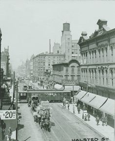 Looking north on Halsted from North Ave, 1900, Chicago This scene is dramatically different today. Ryerson and Burnham Archive, Art Institute of Chicago