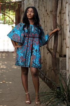 African printed split dress