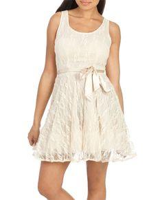 Lace Belted Skater Dress - Dresses