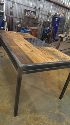 Matching Apex desk with steel writing plate. Industrial Home Design, Industrial Flooring, Vintage Industrial Furniture, Industrial Table, Welded Furniture, Steel Furniture, Custom Furniture, Custom Desk, Timber Table