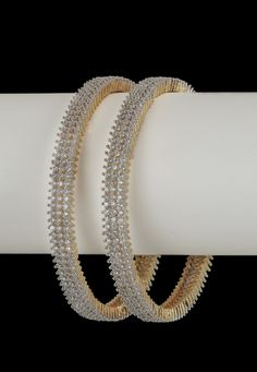 White and Golden American Diamond Studded Bangles Diamond Bangle, Diamond Studs, Diamond Pendant, Diamond Jewelry, Diamond Necklaces, Indian Jewellery Online, India Jewelry, American Diamond Jewellery, Gold Bangles
