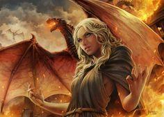 Dracarys, Daenerys Targaryen from Game of Thrones, digital drawing by Diogo Saito from Pilar do Sul, Brazil Arte Game Of Thrones, Game Of Thrones Artwork, Got Dragons, Mother Of Dragons, Daenerys Targaryen, Khaleesi, Familia Targaryen, Fantasy World, Fantasy Art