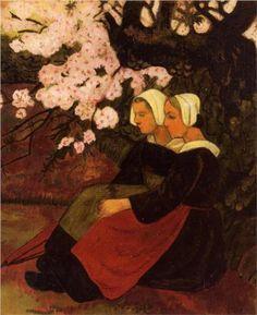 Two Breton Women under a Flowering Apple Tree - Paul Serusier