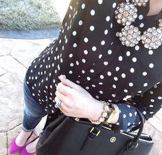 J Crew polka dot popover statement necklace skinnies berry ballerina flats black handbag