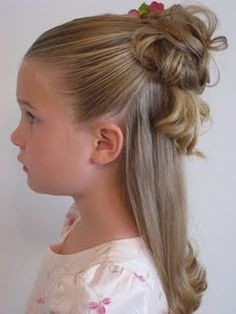 Half up messy bun - cute for little girls in your party my flower girls hair for sure!!!