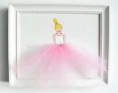 Original acrylic painting, hand-painted on stretched canvas. Unique artwork, composed of acrylic paint and tulle, ideal for a little girls room, nursery, baby shower, birthday gift, etc. ------------------------------------------------------------------------------------------------ This is the listing for one canvas only (Jumping ballerina in PINK tutu, white background). See our other artwork listings to mix and match! You may also choose a Lavender tutu instead. See options please…