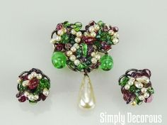 Louis Rousselet Floral Brooch & Earrings