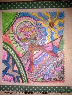 Bright and attractive Zentangle Art by PapersArt on Etsy, £15.00