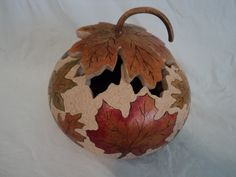 Fall leaves -  canteen gourd. $95.00, via Etsy.