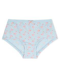 Pale Blue Mix Cotton Rich Flamingo Print Bikini Knickers (6-16 Years)