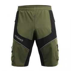 Men Running Fitness Shorts Stretchy Quick Dry Waterproof Bicycle Bike Cycling Shorts Reflective army green S