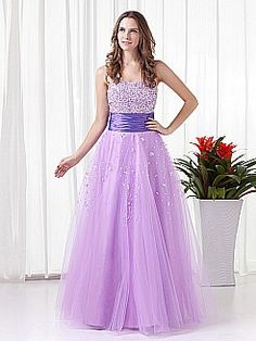 Strapless Tulle over Satin A Line Floor Length Quinceanera Dress with Sequins - USD $129.69