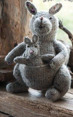 Knitting pattern for Kath the Kangaroo with baby Joey in pocket. Finished Sizes Kath: 12 tall Joey: 6 tall Etsy affiliate link tba (crafts with yarn project ideas) Baby Knitting Patterns, Knitting For Kids, Free Knitting, Knitting Projects, Crochet Patterns, Knitting Toys, Knit Or Crochet, Crochet Toys, Knitted Animals