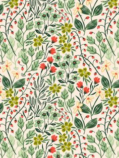 New flowers illustration pattern design wallpapers Ideas Illustration Blume, Illustration Mode, Pattern Illustration, Digital Illustration, Textile Patterns, Flower Patterns, Print Patterns, Pattern Flower, Summer Patterns