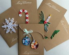 Quilled Holiday cards set of 5 Quilling Christmas, Christmas Card Crafts, Homemade Christmas Cards, Handmade Christmas Decorations, Christmas Cards To Make, Xmas Cards, Holiday Cards, Christmas Christmas, Cards Diy