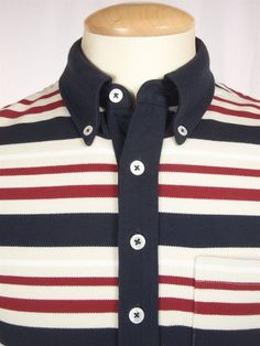 BROOKS BROTHERS 1818 Mens Polo Shirt Size BB2 M Slim Fit Striped Tom Browne #BrooksBrothers #PoloRugby
