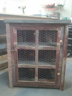 red 3 sided barnwood pie safe by TreehouseWoodworks on Etsy, $189.00