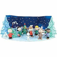 "Peanuts Charlie Brown Starry Night Christmas Holiday Figure Set by ROUND 2 LLC. $19.99. Not for children under 3 yrs.. Includes 3D fold-out starry night backdrop.. Backdrop is 15"" x 6.5"".. 8 free-standing figures.. Figures range from 2.5"" to 4"".. Charlie Brown and the gang gather around the revived (no-longer-pathetic) tree to celebrate the joyful season. Includes 3D fold-out starry night backdrop, and 8 free-standing figures guaranteed to add warmth to your holiday. Backdr..."