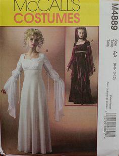"Renaissance Dress McCall's Costume Pattern 4889 Uncut  Size 6-8-10-12  Bust 30.5 to 34"""