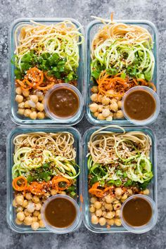 These cold sesame noodle meal prep bowls are the perfect vegan prep ahead lunch: spiralized vegetables tossed with chickpeas and whole wheat spaghetti in a spicy almond butter sauce. #sweetpeasandsaffron #mealprep #vegan #lunch #noodles