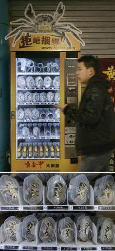 Live crab vending machine.