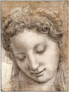 'Head of a Smiling Young Woman in Three-Quarter View' - Agnolo Bronzino (1503-1572) pencil charcoal drawing