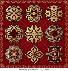 Oriental style ornament elements. All components are easy editable and can be assembled. by Turovsky, via Shutterstock