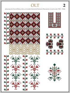 Popular Folk Embroidery ie din OLT Folk Embroidery, Learn Embroidery, Embroidery Stitches, Embroidery Patterns, Cross Stitch Patterns, Machine Embroidery, Modern Embroidery, Cool Patterns, Beading Patterns