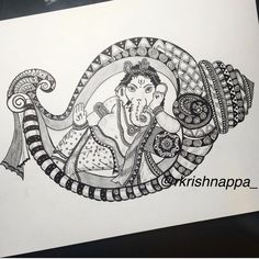 One more #repost of Lord #Ganesha in a conch - inspiration for this came from a Ganesha idol I saw on my friend Pinky's blog - @pinkzpassion . . . #hinduism #hindu #indianart #indianartist #zentangle #zendoodle #mandala #mandalatattoo #ganeshatattoo #tattoopins #tattsketches #tattoo #tattoos #seashells #seashelltattoo #ganesh #ganapati #stylish #bangaloretimes #bangaloreartists #penart #micronpens #nkaofficial Cute Doodle Art, Doodle Art Designs, Doodle Art Drawing, Zentangle Drawings, Mandala Drawing, Zentangles, Art Drawings, Learn Drawing, Pencil Drawings