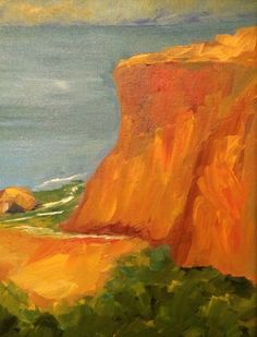 Oil on Canvas Painting Workshop, Ocean Waves, Side View, Cliff, Oil On Canvas, California, Art, Art Background, Kunst