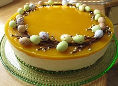 Mango cheesecake with easter decoration