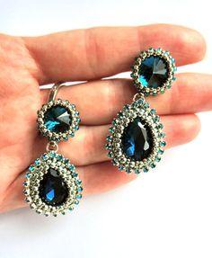 Shine 22 - beading earrings with crystals (Imperial Style) w VAKARAS Jewellery by Slomkad na DaWanda.com