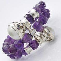 Amethyst Faceted 10 mm bead, Mabe Pearl Bracelet 925 Sterling Silver   Opulent adjustable size   Crystal Heart Australia for unique stones and silver since 1986