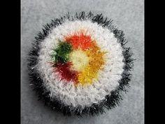 """JOY'S U.S.A Crochet 코바늘뜨기 ( 푸짐이김밥 수세미 만들기) """"중등급 수준 """"수세미실로 김밥수세미를 만들어요!! - YouTube Crochet Crafts, Knit Crochet, Scrubby Yarn, Crochet Kitchen, Baby Socks, Knitting Socks, Crochet Flowers, Knitting Patterns, Diy And Crafts"""