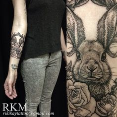 Bunny tattoo- looks like an etching!