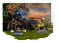 """Deserted Mansion"" by arianna-marie-organo ❤ liked on Polyvore featuring art, Halloween, Random, creativity, ideas and artset"
