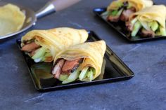 "This multi-cultural, streamlined version of the classic Chinese ""Peking Duck"" dish is made with seared duck breasts rather than a whole roast bird , and the meat and crisp vegetables are wrapped in classic French crepes (which may be made up to two days ahead). more"