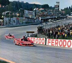 Jacky Ickx (Campari Kauhsen Alfa Romeo T33TT12) leading Henri Pescarolo (Campari Kauhsen Alfa Romeo T33TT12), Grand Prix de Spa, Francorchamps, 1975. -- Ickx, together with Arturo Merzario would finish 2nd.