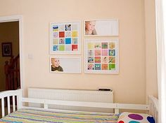 what a great way to display kids' artwork without taking up thousands of square feet!