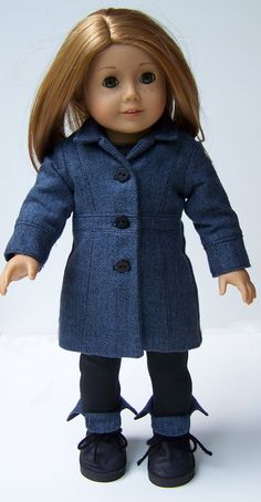 Black and blue coat by MaddiesGirls on Etsy. Made following the LJC Le Marais Coat pattern, found at http://www.pixiefaire.com/products/le-marais-coat-18-doll-clothes. #pixiefaire #libertyjane #lemaraiscoat