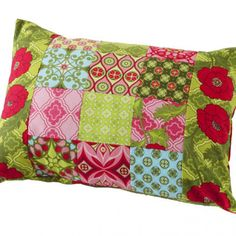 Project maker Judy Sams Sohn used prints from Patty Young's Mezzanine collection for Michael Miller Fabrics to make a rectangular patchwork pillow. You could use fabric scraps for this easy-to-piece project.