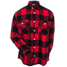 Rothco Shirts: Men's 4739 RED Cotton Flannel Buffalo Plaid Shirt #CarharttClothing #DickiesWorkwear #WolverineBoots #TimberlandProBoots #WolverineSteelToeBoots #SteelToeShoes #WorkBoots #CarharttJackets #WranglerJeans #CarhartBibOveralls #CarharttPants