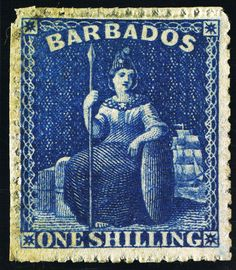 Barbados stamp from 1861 1/- blue, error of colour