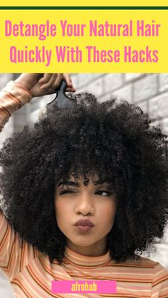 Learn how to detangle natural hair without breaking it, and how to detangle natural hair faster with these 5 ridiculously simple steps. #4 is crucial to prevent hair breakage and retain more length in natural hair. #howtodetanglenaturalhair #naturalhairregimen #hairroutine #detanglenaturalhairforkids