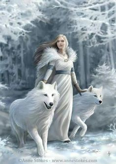 White wolves, white dress, white landscape.                                                                                                                                                      More