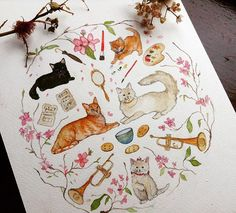 Finally my Aristocats Illustration is complete! For some reason it was one of the most difficult illustrations I have ever done, but I thoroughly enjoyed the challenge! . . #instadaily #cute #love #life #flower #flowers #instaillustration #illustration #illustrator #nature #paint #painting #draw #drawing #sketch #sketching #widlife #animal #disneyland #disney #watercolour #sketchbook #aristocats #vegan #kittens #art #design #cat