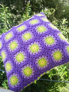 "This is another ""Circle in Square Pillow"" from the same person as the last couple I've pinned. Love her color choices & purple & lime green is one of my favorites!"