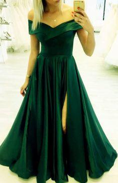 Gorgeous Satin Dresses With Off Shoulder And Leg Split Design Classy Prom Dresses, Long Dresses, Formal Dresses, Party Dresses, Dance Dresses, Satin Dresses, Gowns, Split Design, Prom Long